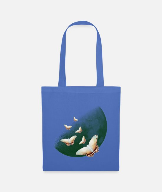 Brown Bags & Backpacks - Great moon with butterflies - Tote Bag light blue