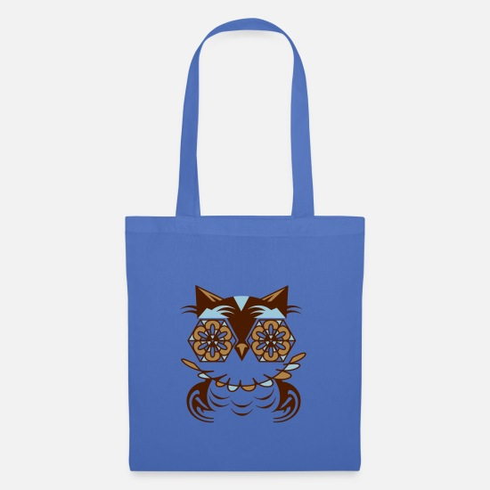 Nocturnal Bags & Backpacks - geometric owl with gothic rosettes eyes - Tote Bag light blue