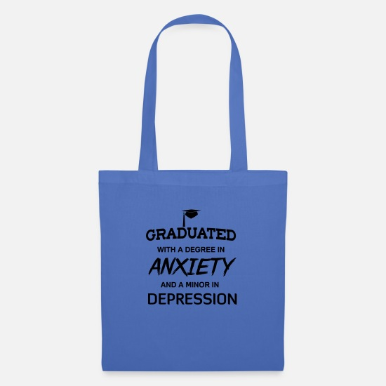 Depressed Bags & Backpacks - Graduated with degree in anxiety and depression - Tote Bag light blue