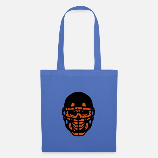 Playful Bags & Backpacks - head of death halloween american football helmet 1 - Tote Bag light blue