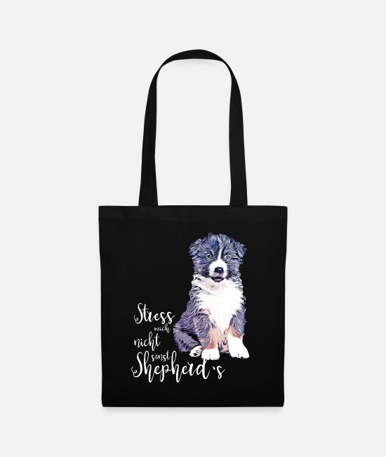 Aussie Bags & Backpacks - Aussie puppy - Do not stress me, otherwise shepherd's - Tote Bag black