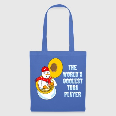 Music Note Coolest Tuba Player Light Text - Tote Bag
