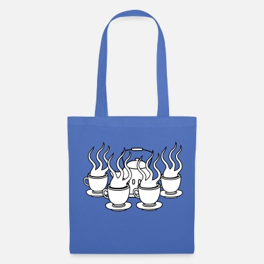 Coffee many party friends serving cake glass cup te - Tote Bag