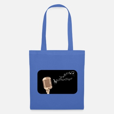 Drums Microphone silhouette multicolored notes - Tote Bag