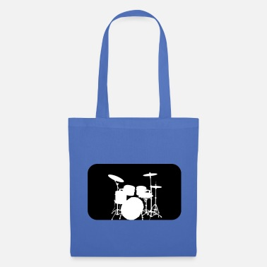 Blue White Drum kit Silhouette White - Tote Bag