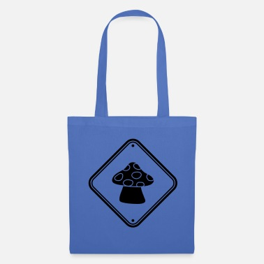 Mushroom caution caution note zone sign points fly - Tote Bag