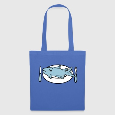 plate fork knife cool fish swimming diving a - Tote Bag