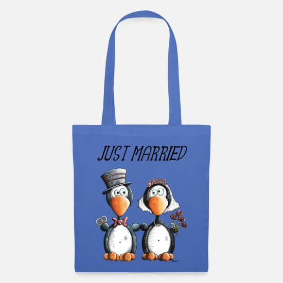 Wedding Bags & Backpacks - Just Married Penguins - Tote Bag light blue