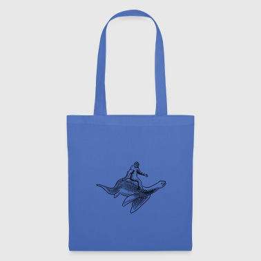 Bigfoot Riding Loch Ness Monster - Tote Bag