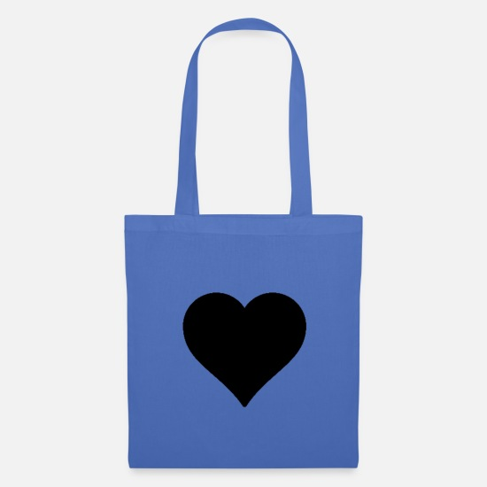 Black Bags & Backpacks - Heart Black - Heart - black - - Tote Bag light blue