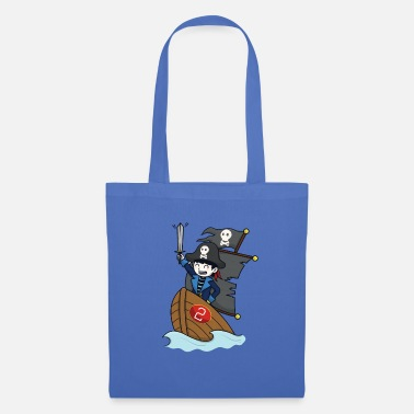 Pirate on pirate ship - number 2nd birthday - Tote Bag