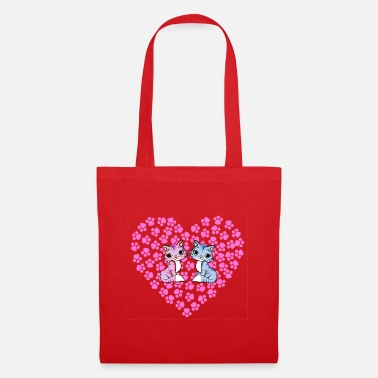 Print Two Hearts Heart with paw prints and two cats in love - Tote Bag