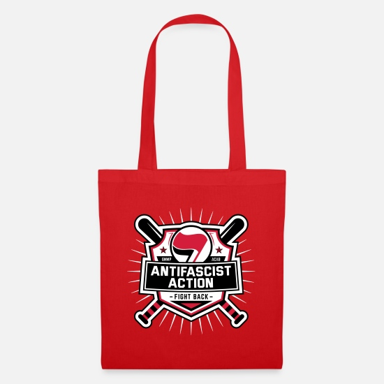 Activist Bags & Backpacks - ANTIFA - Antifascist Action (I) - Tote Bag red