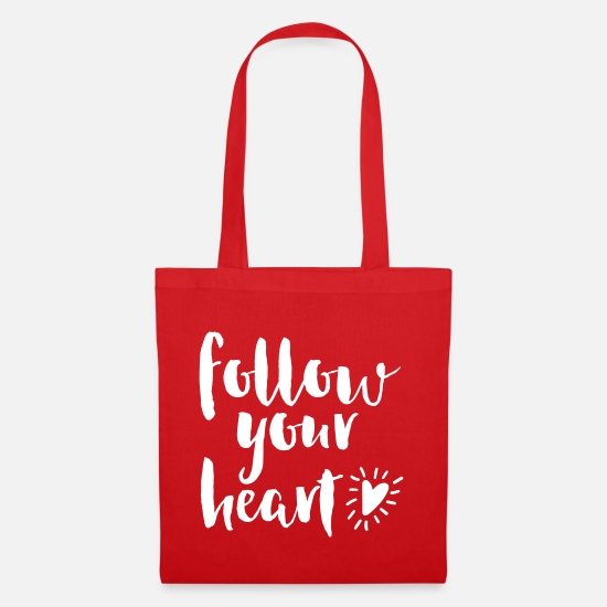 Love Bags & Backpacks - Follow Your Heart Quote - Tote Bag red