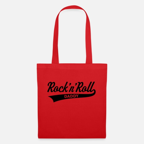 Birthday Bags & Backpacks - Rock 'n' Roll Daddy (Dad / Father's Day) - Tote Bag red