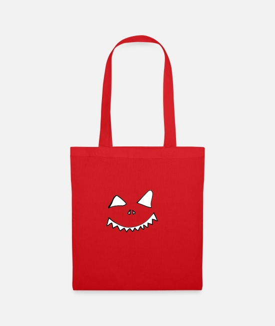 Horror Bags & Backpacks - pumpkin face - Tote Bag red