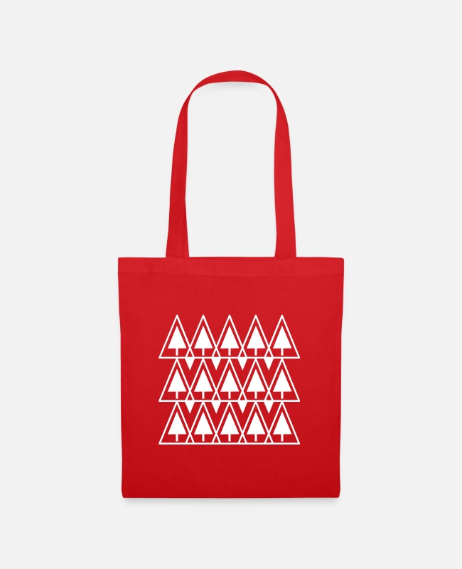Graphic Art Bags & Backpacks - Fir trees pattern - Tote Bag red