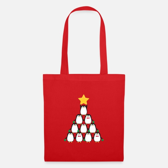 Tenderness Bags & Backpacks - Penguins' Christmas tree - Tote Bag red