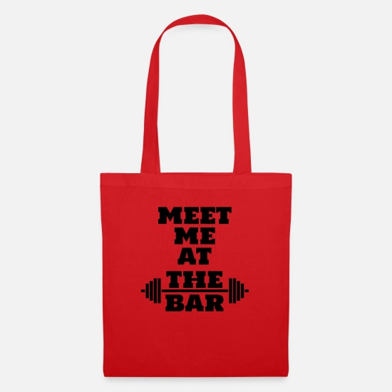 Dumbbells Bags & Backpacks - Meet me at the bar - Tote Bag red