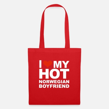 Fathers Day I Love my hot Norwegian Boyfriend Valentine's Day - Tote Bag