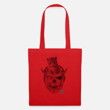 demon cat red - Tote Bag