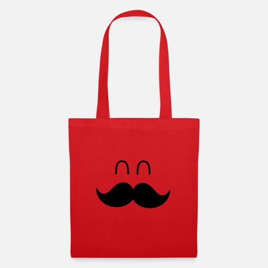 Funny Bags & Backpacks - Funny Mustache Face - Tote Bag red