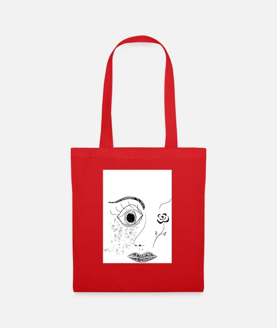 Zeichnun Bags & Backpacks - face - Tote Bag red