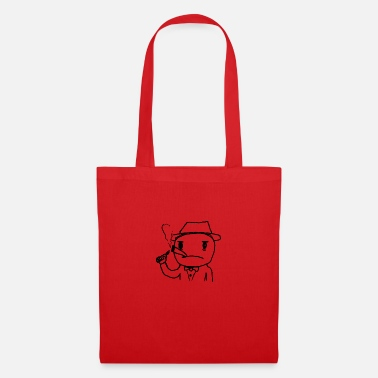 Childrens Drawing Cartoon mafia boss with cigarette - Tote Bag