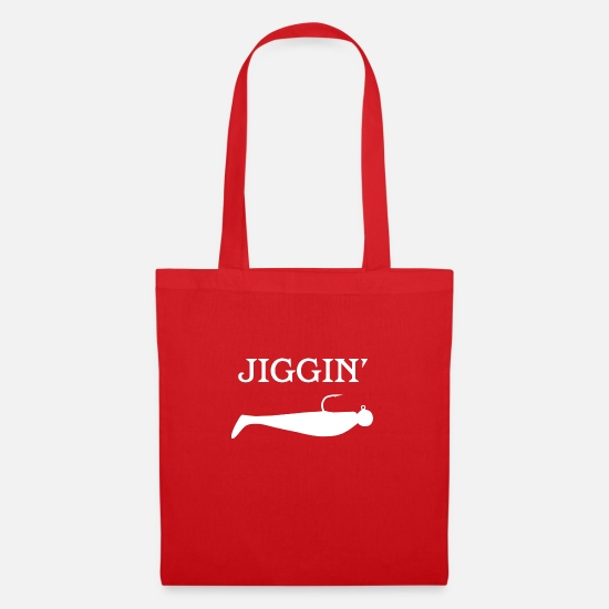 Outdoor Bags & Backpacks - jiggin - white design for fishermen and women - Tote Bag red