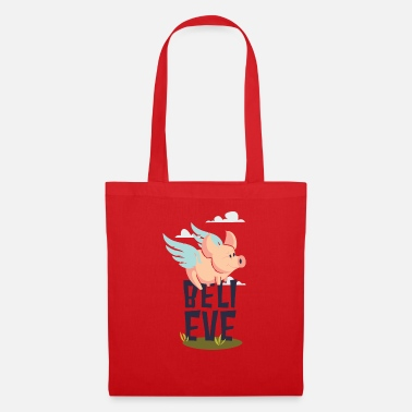 Believe - with flying pig graphic Tote Bag  36abaa8c7229d