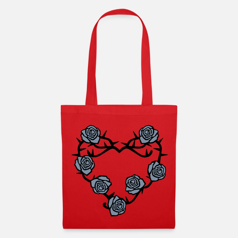 Heart Bags & Backpacks - Roses and Thorns Heart - Tote Bag red