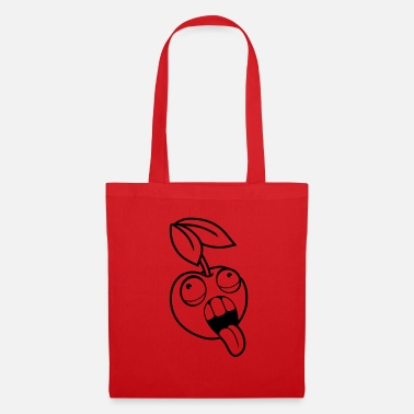 Fruit crazy fruit cherry face head eyes tongue mu - Tote Bag