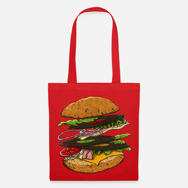 Food Collection Bolsas y mochilas - hamburger - Bolsa de tela rojo