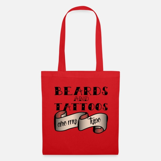 Tattoo Bags & Backpacks - Tattoo / Tattoos: Beards And Tattoos Are My - Tote Bag red