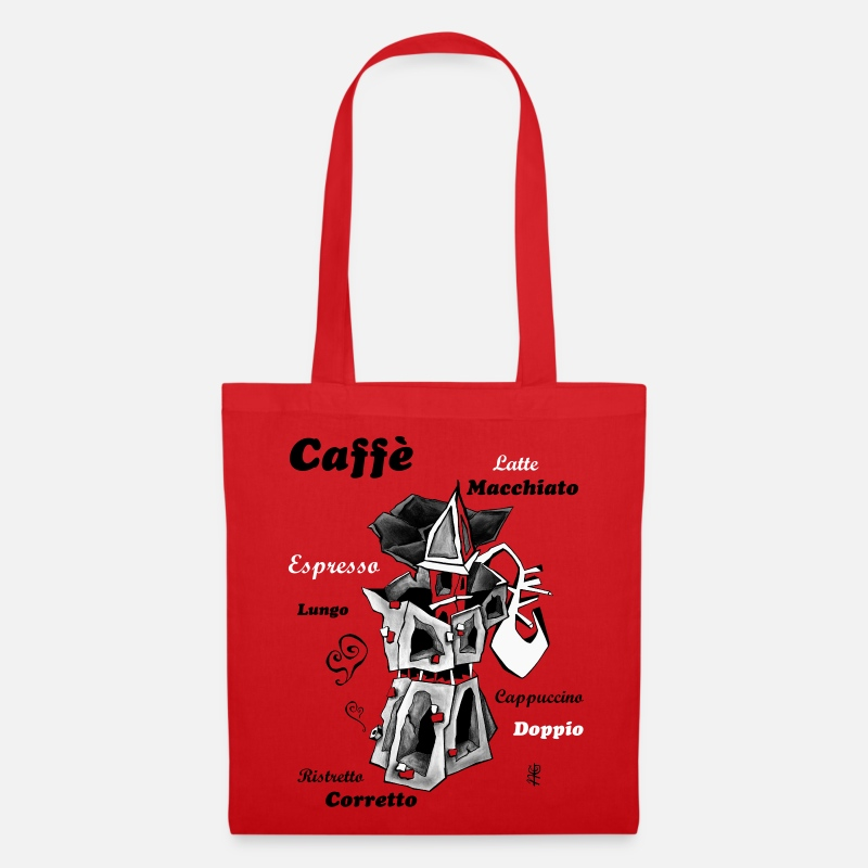 Coffee Bags & Backpacks - Moka Art Coffee Espresso Italy - Venice Draw - Tote Bag red