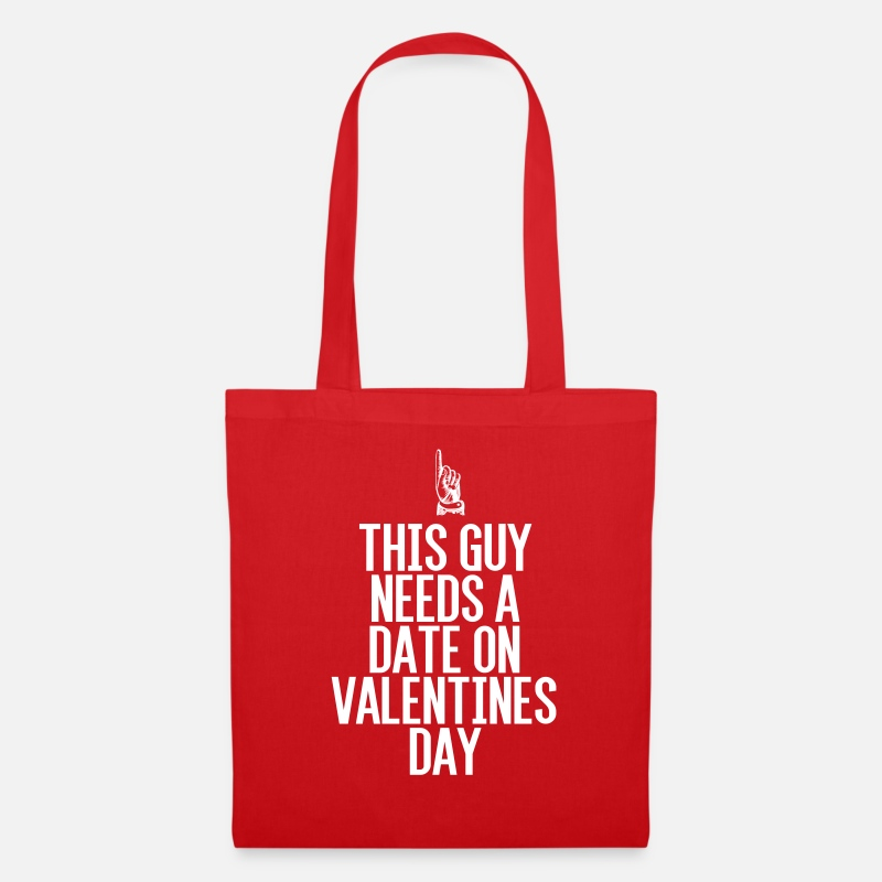 Valentine's Day Bags & Backpacks - This guy needs a date on Valentine's Day - Tote Bag red
