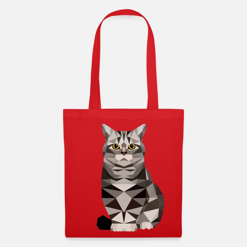 Cat Bags & Backpacks - Cat  polygon House cat kitten cat - Tote Bag red