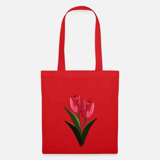 For Mom Bags & Backpacks - tulips - Tote Bag red