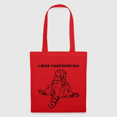 funny cat i hate valentines day - Tote Bag