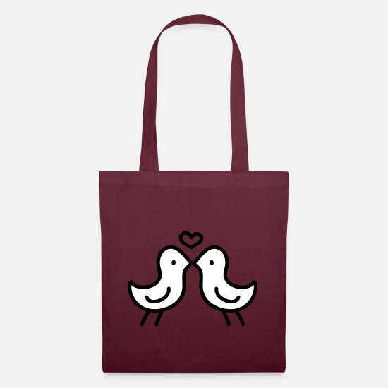 Love Bags & Backpacks - Bird Kiss - Tote Bag burgundy