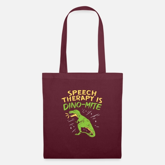 Speech Therapist Bags & Backpacks - Speech Therapy Is Dino-Mite For Speech Therapists - Tote Bag burgundy