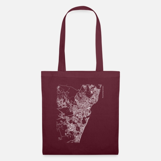 Area Bags & Backpacks - Minimal Recife city map and streets - Tote Bag burgundy