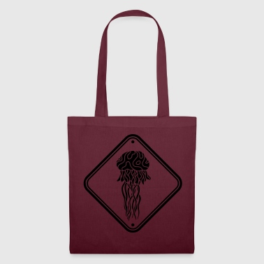 caution danger caution sign shield jellyfish black - Tote Bag