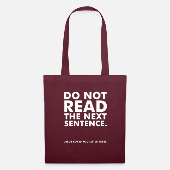Church Bags & Backpacks - Do not read the next sentence B - Tote Bag burgundy