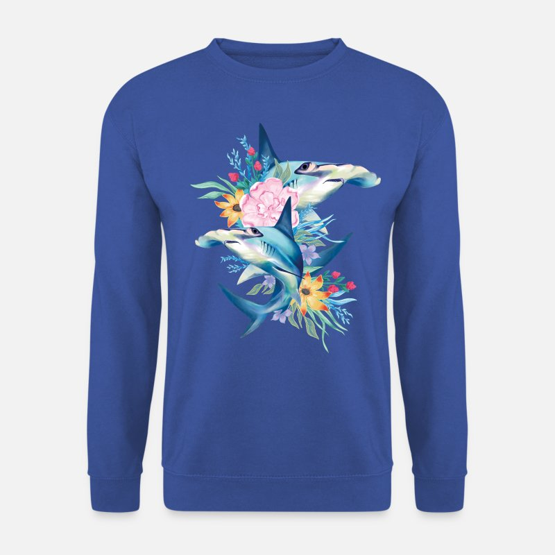 Animals Hoodies & Sweatshirts - Animal Planet Cute Hammerhead Sharks Flowers - Men's Sweatshirt royal blue