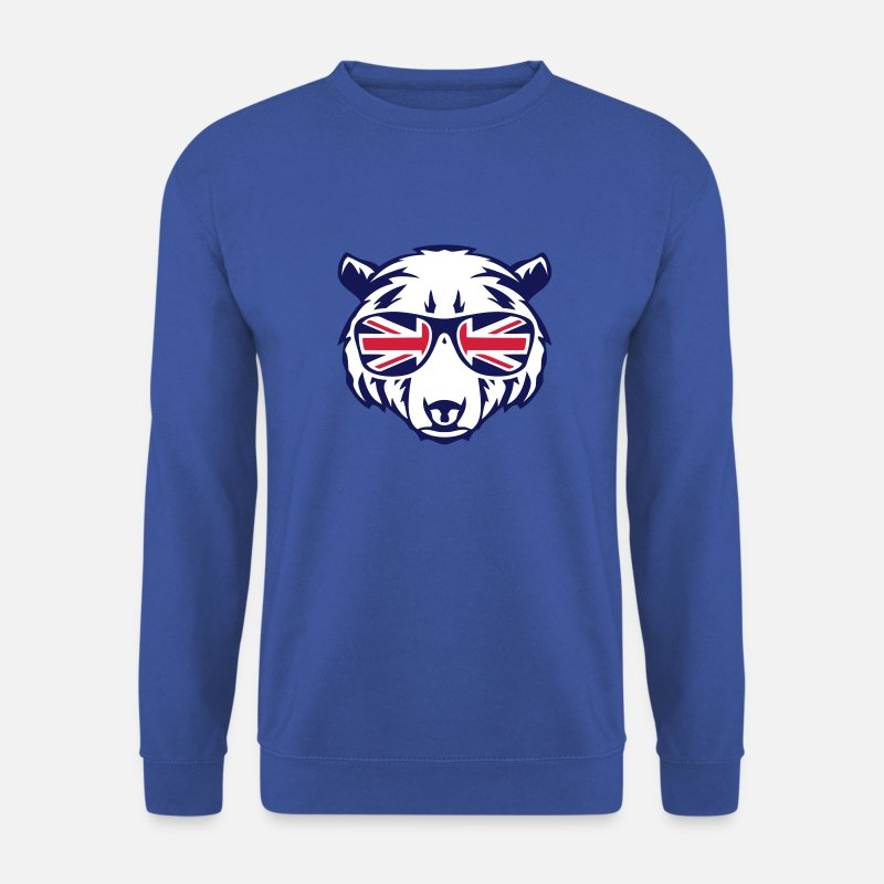 Anglais Sweat-shirts - ours tete lunette drapeau anglais 2 - Sweat-shirt Homme bleu royal