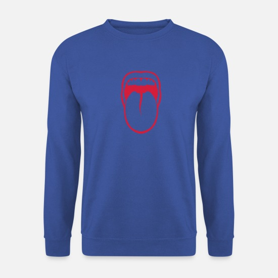 Bouche Sweat-shirts - langue tire bouche dent 3108 - Sweat-shirt Homme bleu royal