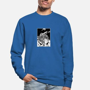 Black White Galaxey Astronaut Moon Man ivor full moon in black and white - Unisex Sweatshirt