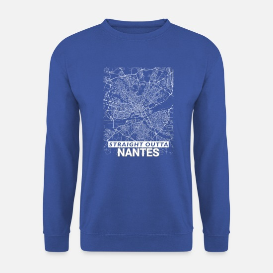 Mise En Page Sweat-shirts - Straight Outta Nantes carte de la ville et les rues - Sweat-shirt Unisex bleu royal