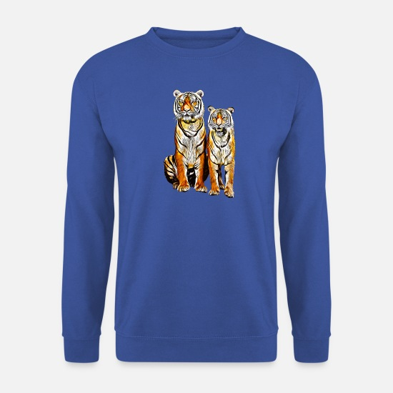 Strong Hoodies & Sweatshirts - gxp tiger couple couple vector art - Men's Sweatshirt royal blue